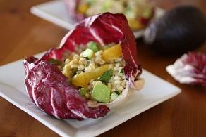 Couscous Salad in Radicchio Bowls with Champagne-Orange Vinaigrette