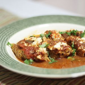 Lamb and Kamut & Cabbage Rolls with Tomato Sauce