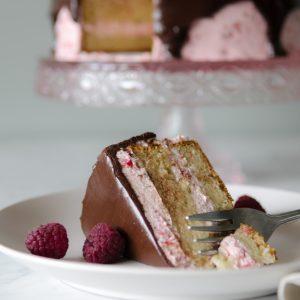 Yellow Cake with Raspberry & Chocolate Frosting (gluten free)