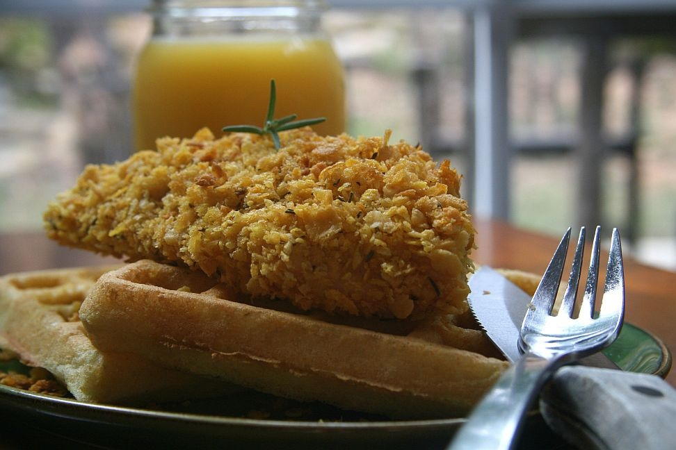 Crispy Rosemary Corn Flake Chicken With Cornbread Waffles ...