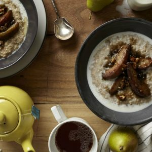Steel Cut Oats with Brown Butter & Balsamic Glazed Pears