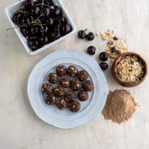 Tart Cherry and Chocolate Covered Almond Muesli Energy Poppers