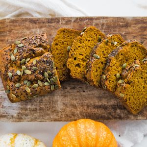 Gluten Free Pumpkin Bread with Flaxseeds and Pepitas