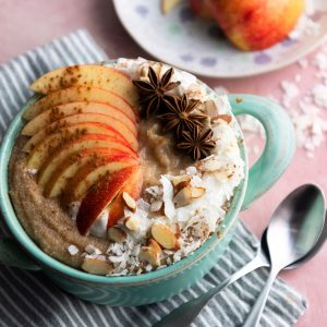 Coconut Amaranth Porridge with Spiced Apple and Date Compote