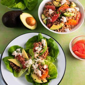 Grapefruit, Avocado and Crab Couscous Salad Wraps
