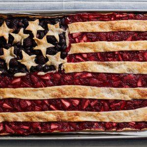 American Flag Berry Slab Pie