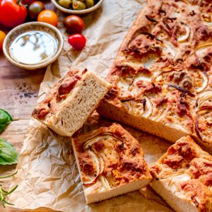 Gluten Free Yeasted Focaccia with Sourdough Starter