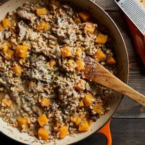 Squash and Mushroom Barley Risotto