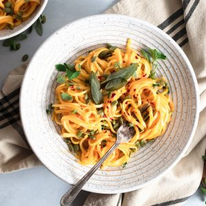Creamy Vegan Butternut Squash Pasta with Sage & Pumpkin