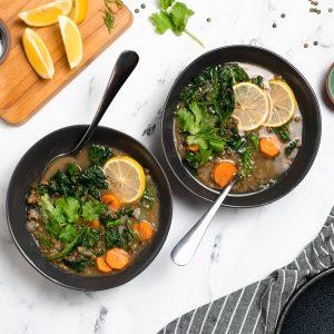 Instant Pot Lemony Lentils and Greens Soup