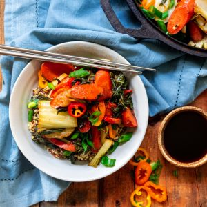 Roasted Asian Style Vegetables with Quinoa