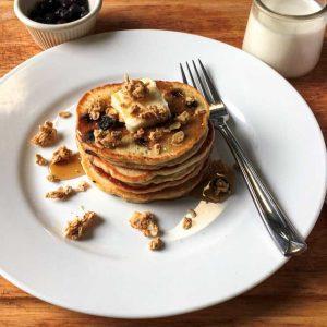Gluten Free Granola Blueberry Pancakes