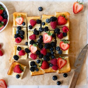 Berry Cheesecake Bars with Oatmeal Shortbread Crust